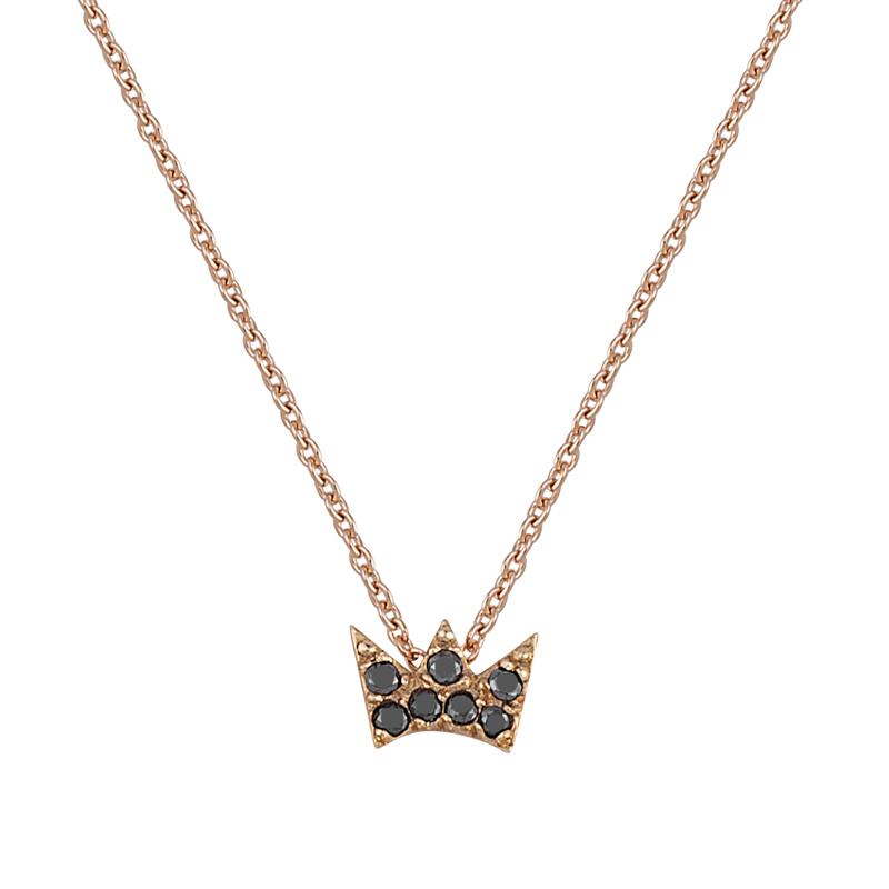 Μενταγιόν με Μαύρα Διαμάντια Ροζ Χρυσός Κ18 - 13029P