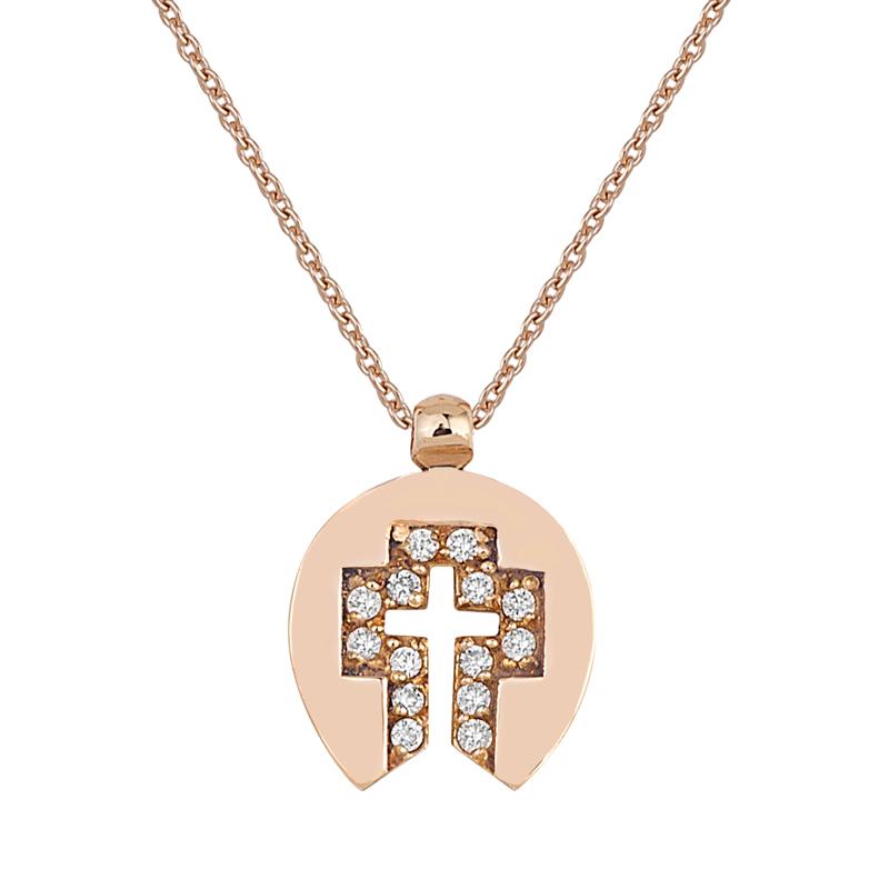 Μενταγιόν με Διαμάντια Ροζ Χρυσός Κ18 - 13030P