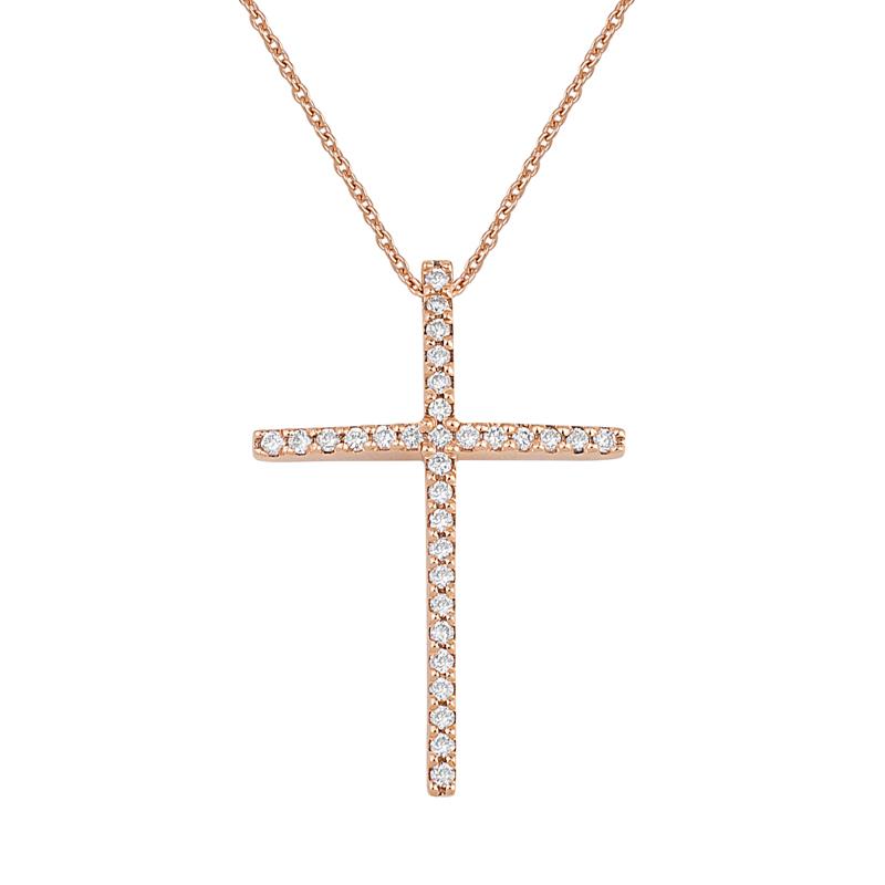 Σταυρός με Διαμάντια Ροζ Χρυσός Κ18 - 16015