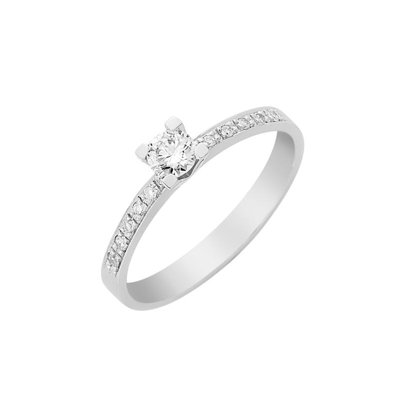 Δαχτυλίδι Μονόπετρο με Διαμάντια Λευκόχρυσος Κ18 - 16030