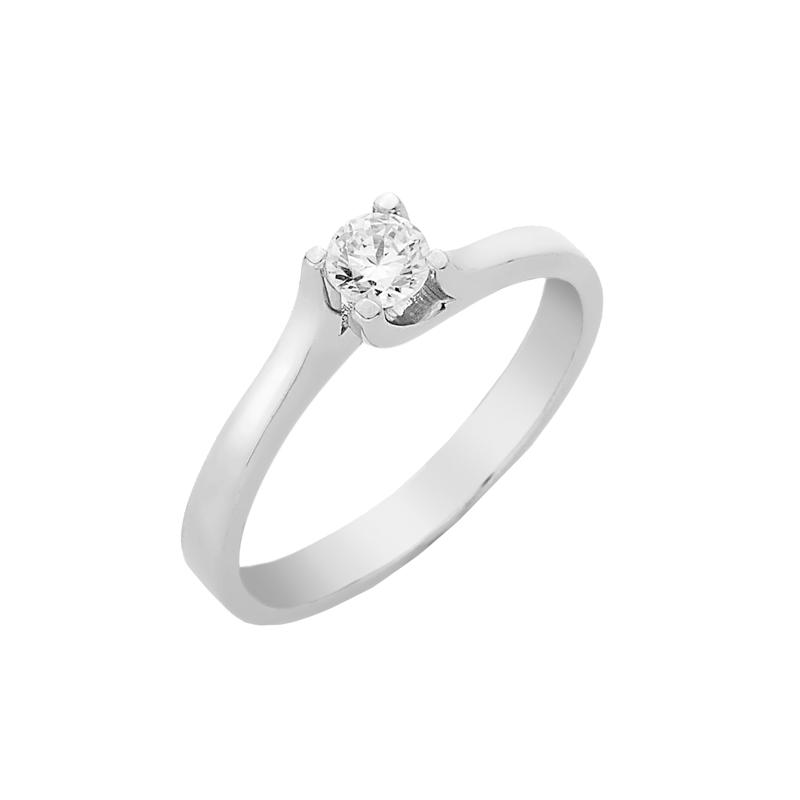 Δαχτυλίδι Μονόπετρο με Διαμάντι Λευκόχρυσος Κ18 - 16027