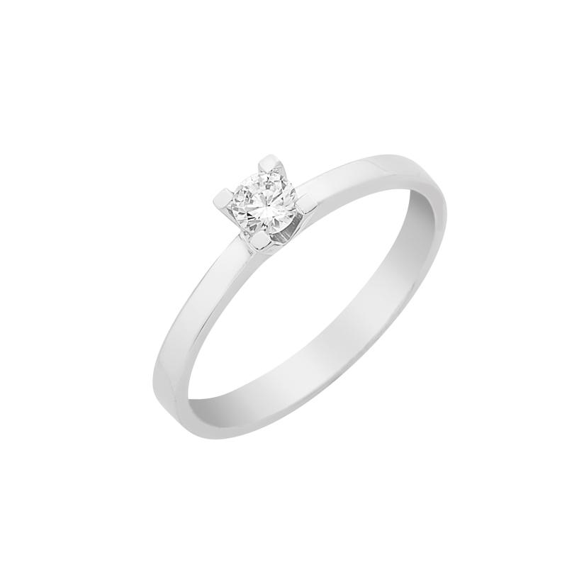 Δαχτυλίδι Μονόπετρο με Διαμάντι Λευκόχρυσος Κ18 - 16029