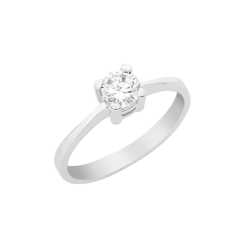 Δαχτυλίδι Μονόπετρο με Ζιργκόν Λευκόχρυσος Κ14 - 16034