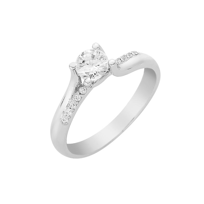 Δαχτυλίδι Μονόπετρο με Ζιργκόν Λευκόχρυσος Κ14 - 16033