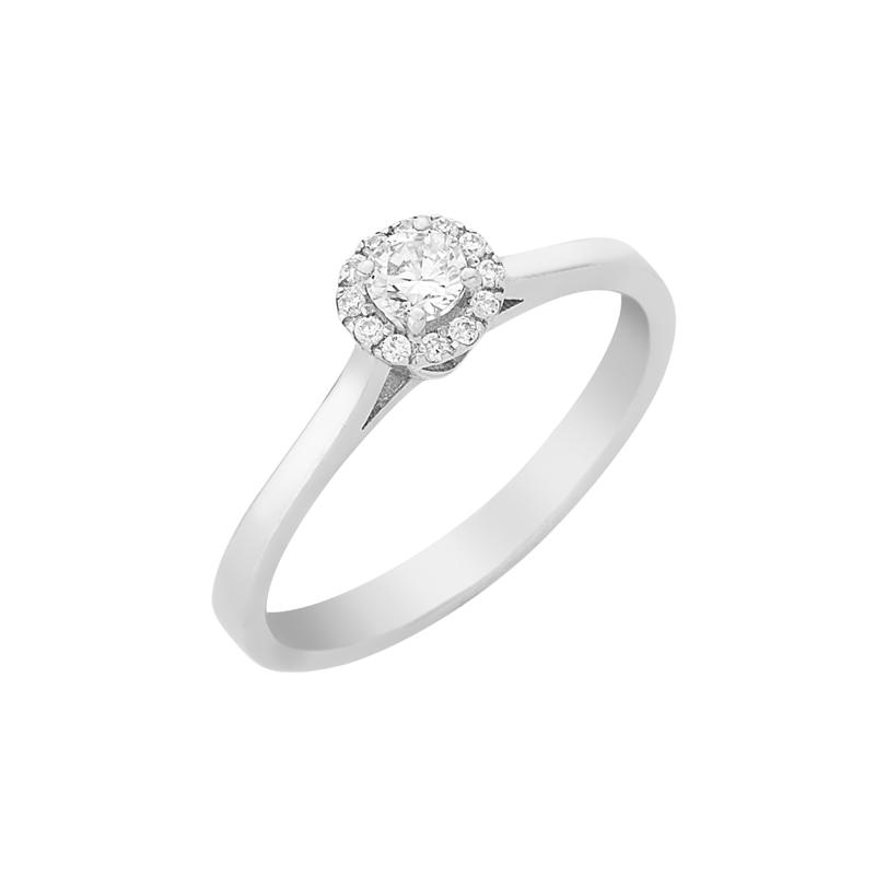 Δαχτυλίδι Μονόπετρο με Διαμάντια Λευκόχρυσος Κ18 - 16032