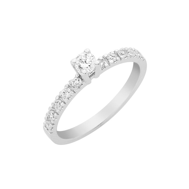 Δαχτυλίδι Μονόπετρο με Διαμάντια Λευκόχρυσος Κ18 - 16036