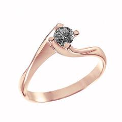 Δαχτυλίδι Μονόπετρο με Μαύρο Διαμάντι Ροζ Χρυσός K18 - 06402BL0