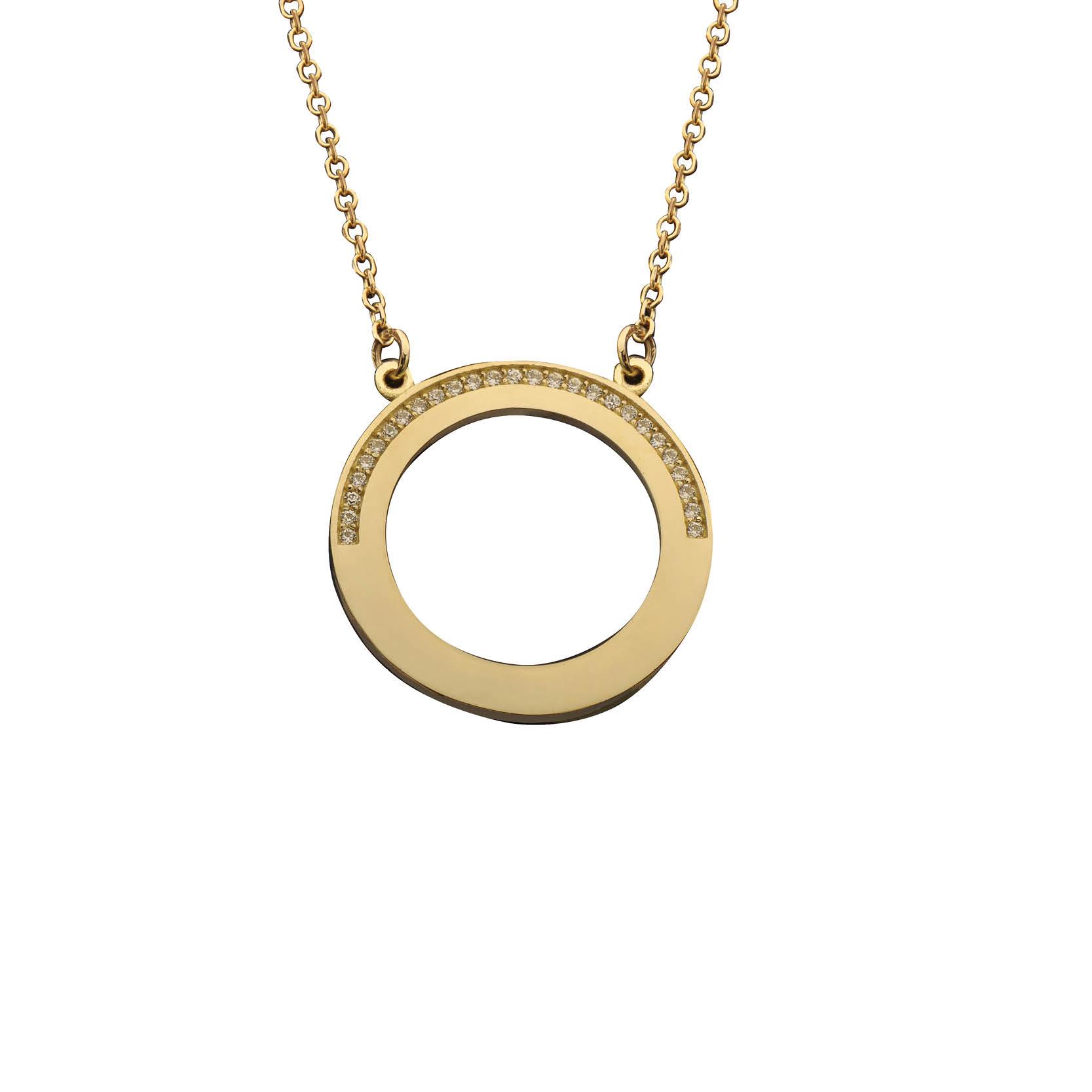 Κολιέ με Ζιργκόν Χρυσός Κ14 - 03Ν389
