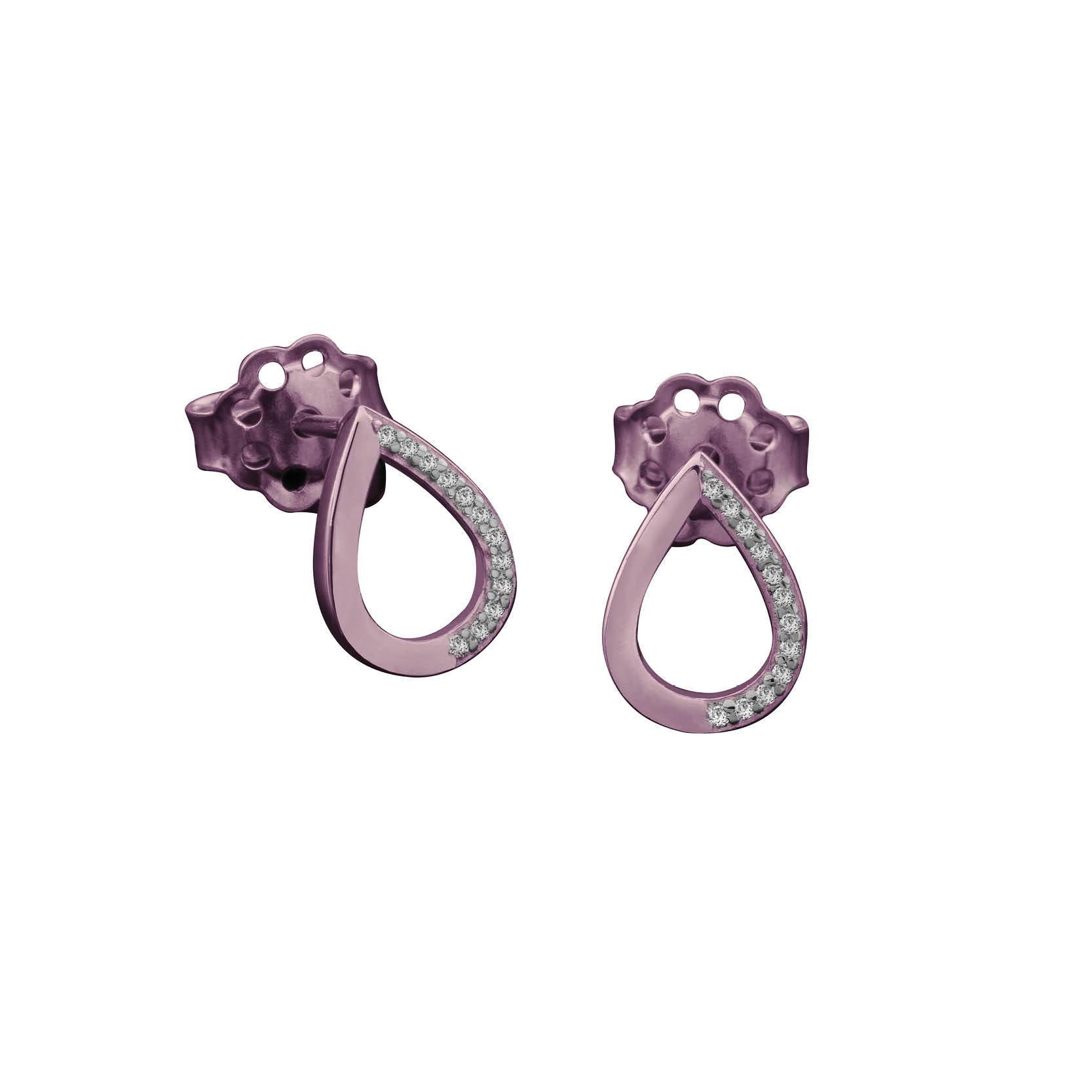 Σκουλαρίκια Δάκρυ με Ζιργκόν Ροζ Χρυσός Κ14 - 03E012