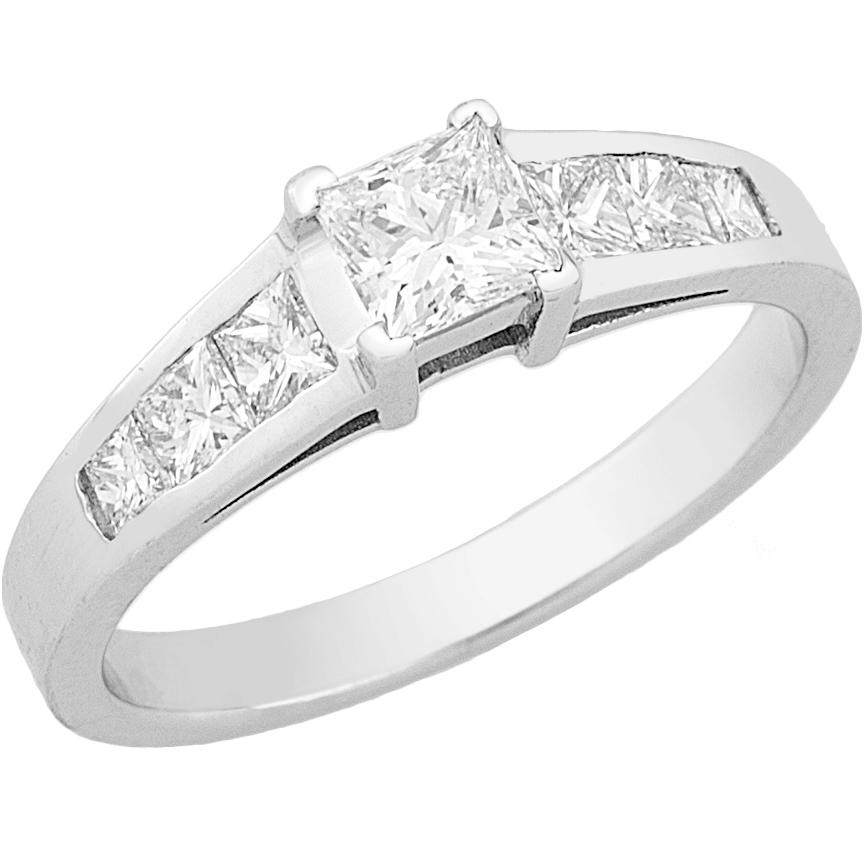Δαχτυλίδι Μονόπετρο με Διαμάντια Λευκόχρυσος Κ18 - 16039