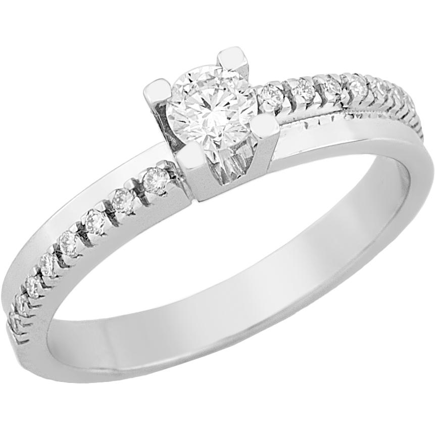 Δαχτυλίδι Μονόπετρο με Διαμάντια Λευκόχρυσος Κ18 - 16040