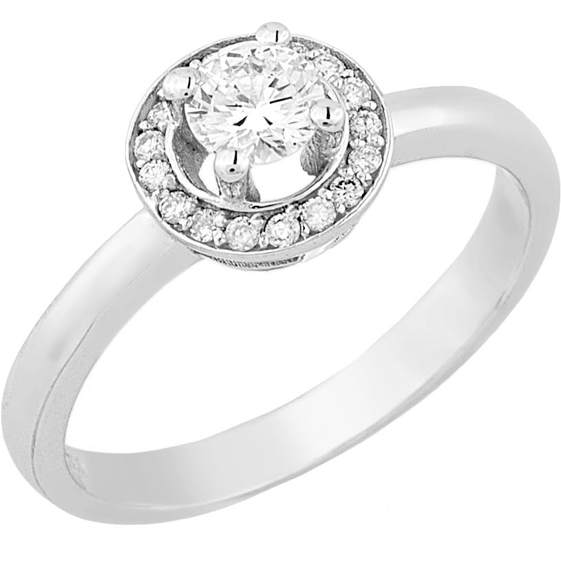 Δαχτυλίδι Μονόπετρο με Διαμάντια Λευκόχρυσος Κ18 - 16037