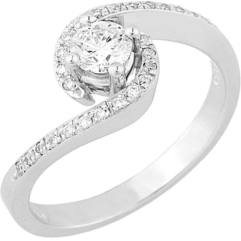 Δαχτυλίδι Μονόπετρο με Διαμάντια Λευκόχρυσος Κ18 - 16042