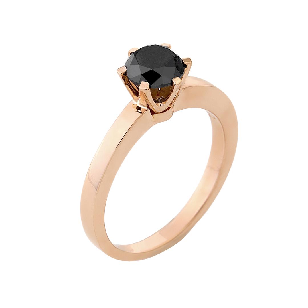 Δαχτυλίδι Μονόπετρο με Μαύρο Διαμάντι Ροζ Χρυσός Κ18 - 11057BL