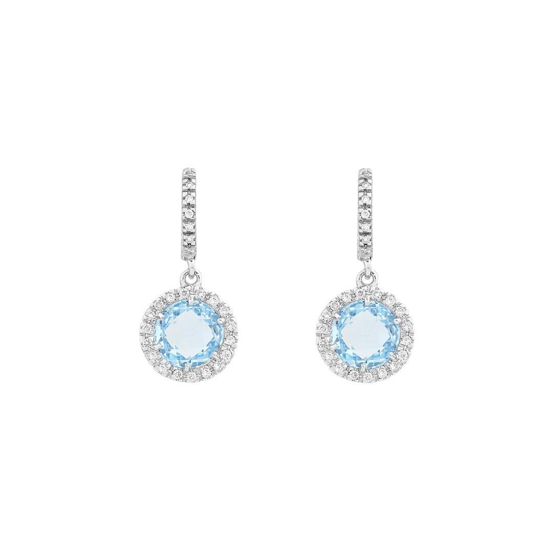 Σκουλαρίκια με Διαμάντια και Μπλέ Τοπάζι Λευκόχρυσος Κ18 - 16044BT