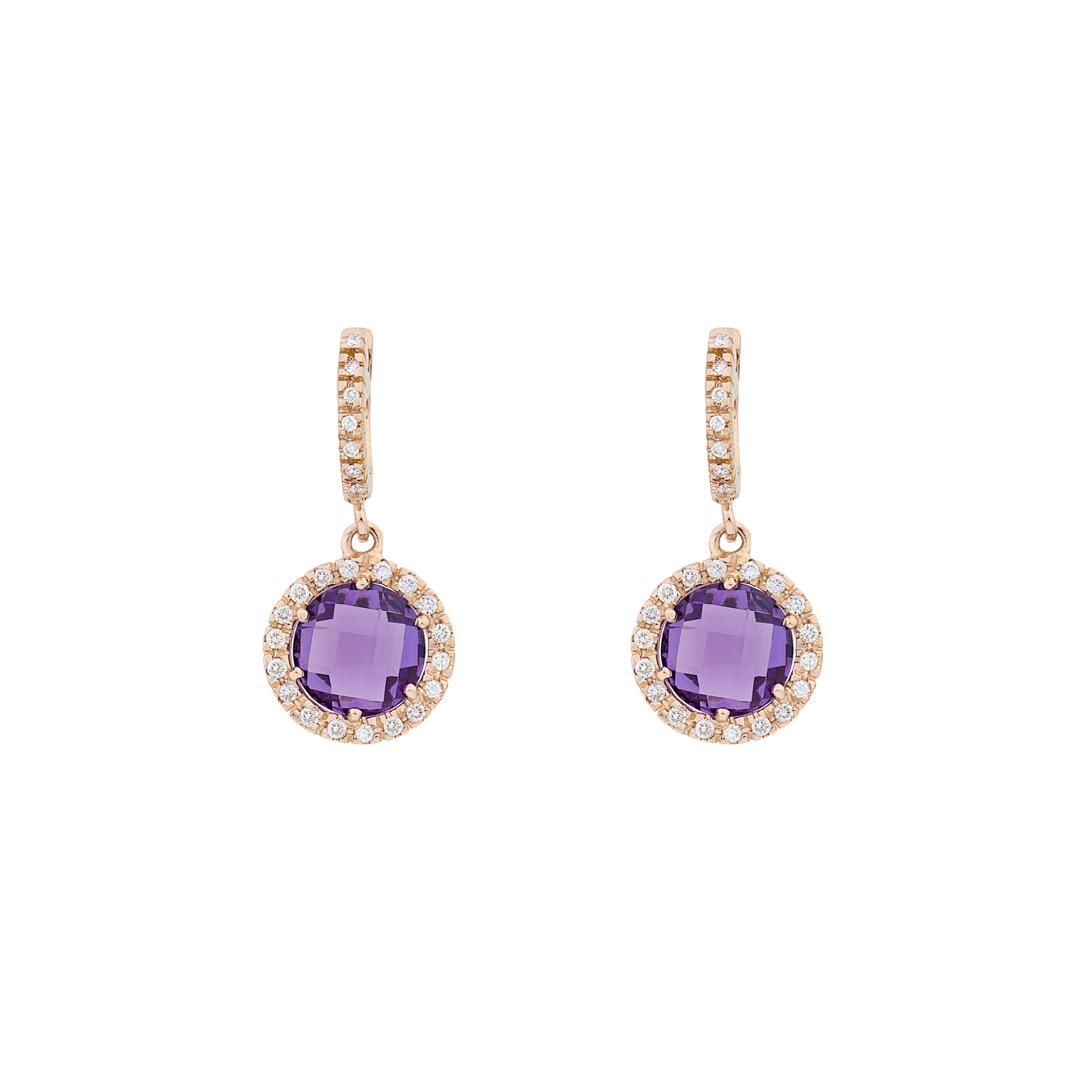 Σκουλαρίκια με Διαμάντια και Αμέθυστο Ροζ Χρυσό Κ18 - 16044AM