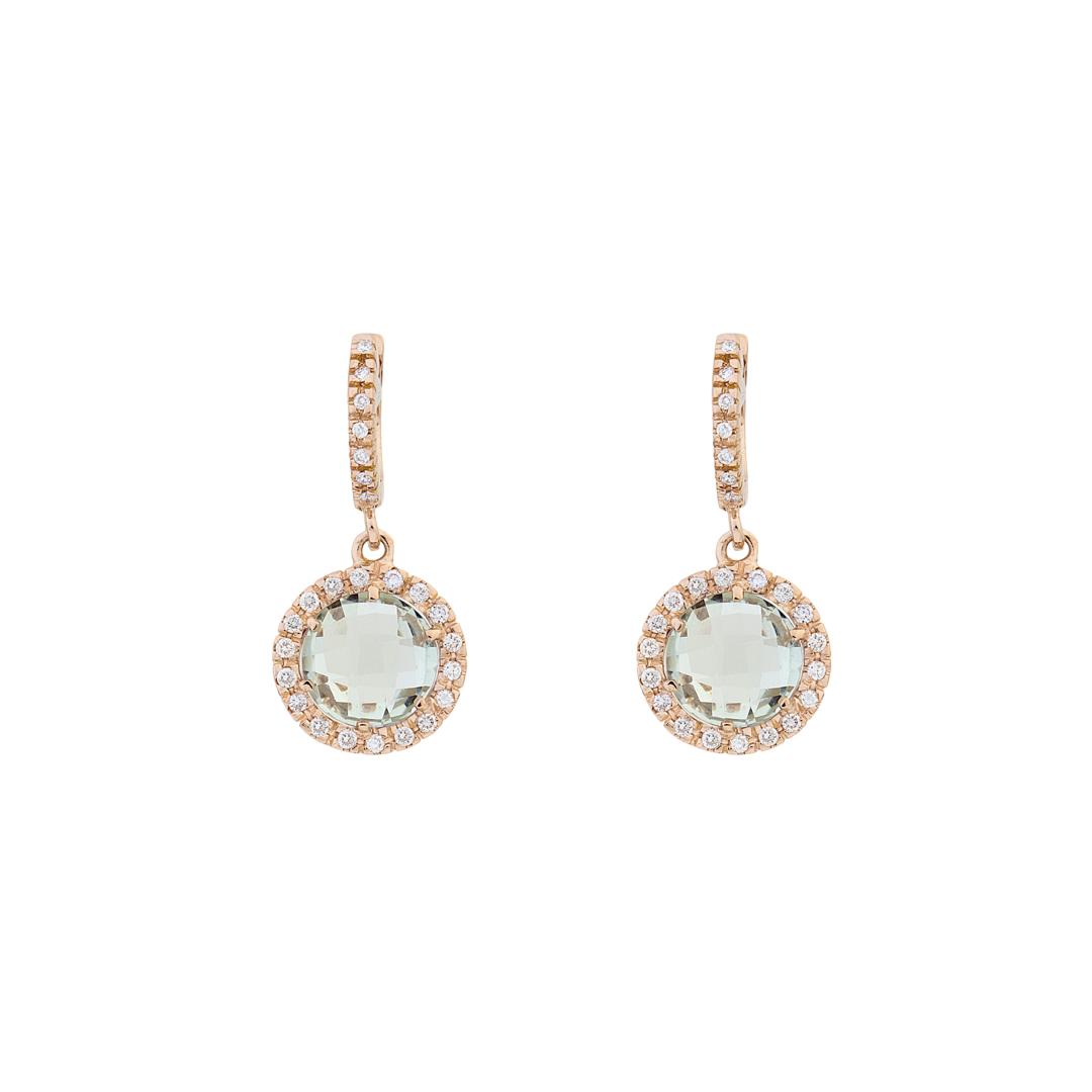 Σκουλαρίκια με Διαμάντια και Πράσινο Αμέθυστο Ροζ Χρυσός Κ18 - 16044GAM