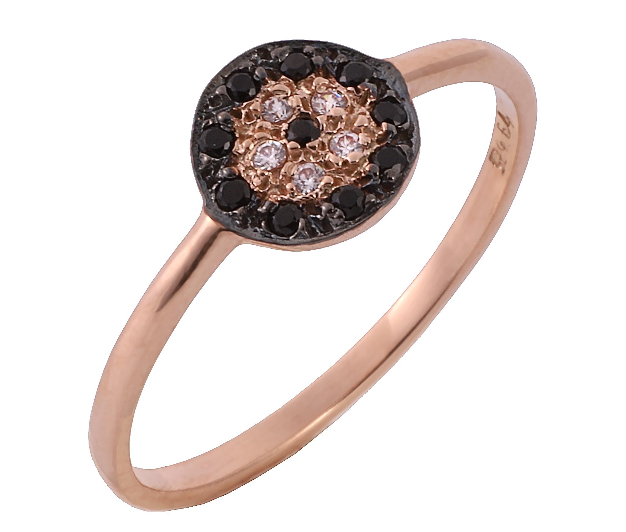 Δαχτυλίδι Ματάκι με Μαύρα & Λευκά Ζιργκόν Ροζ Χρυσός Κ9 - 16056