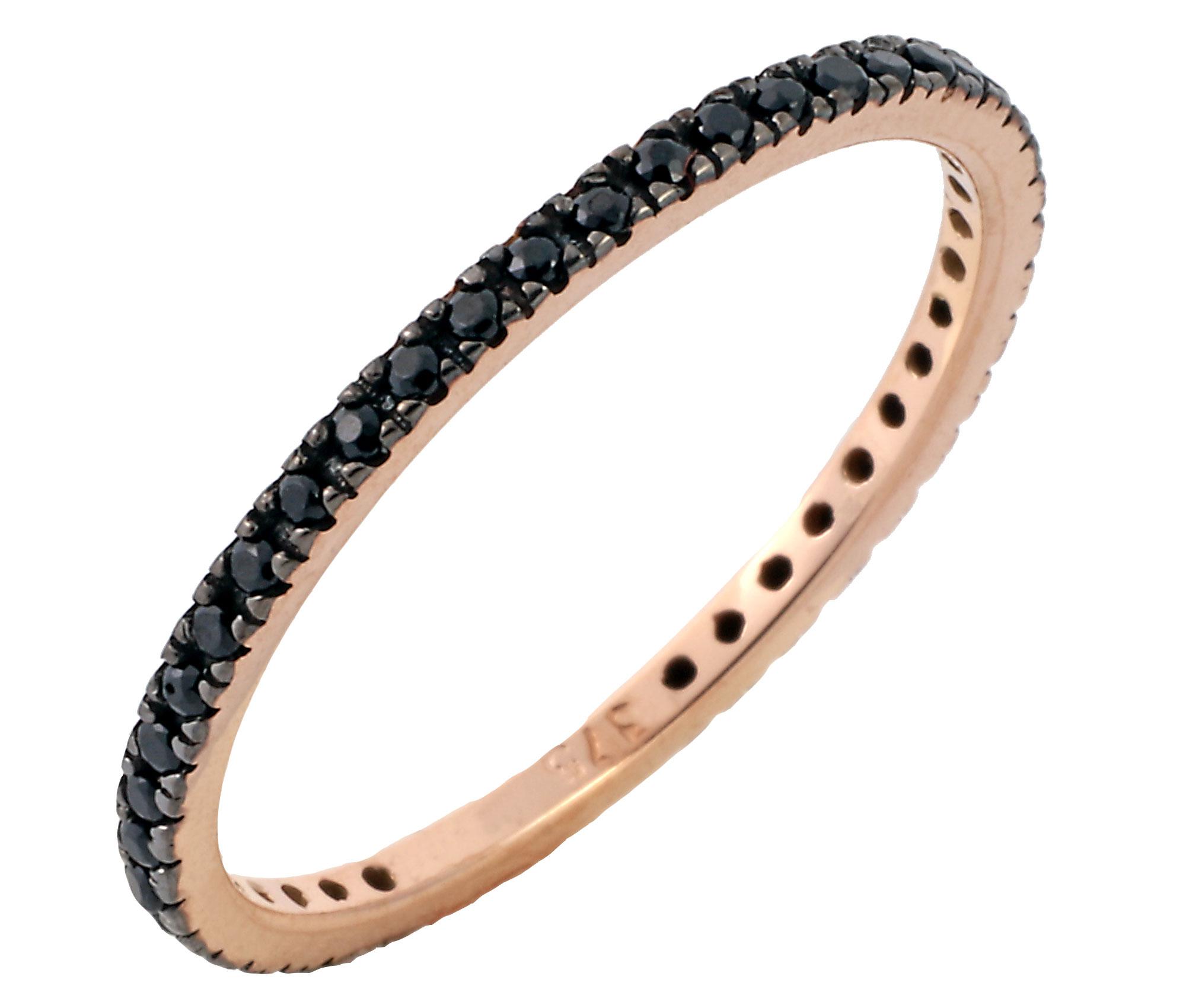 Δαχτυλίδι Ολόβερο με Μαύρα Ζιργκόν Ροζ Χρυσός Κ9 - 16061P