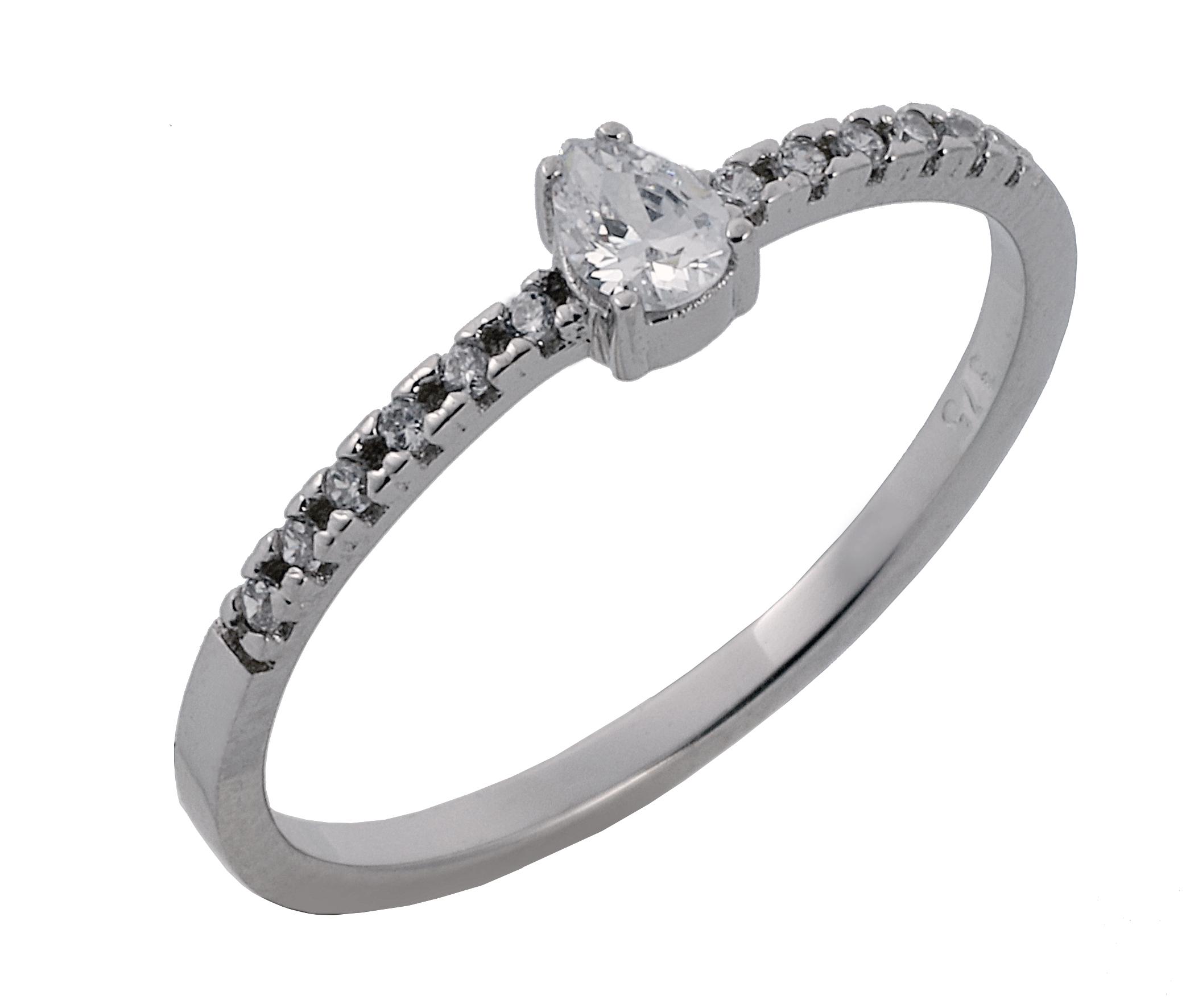 Δαχτυλίδι με Ζιργκόν Πουάρ Λευκόχρυσος Κ9 - 16062
