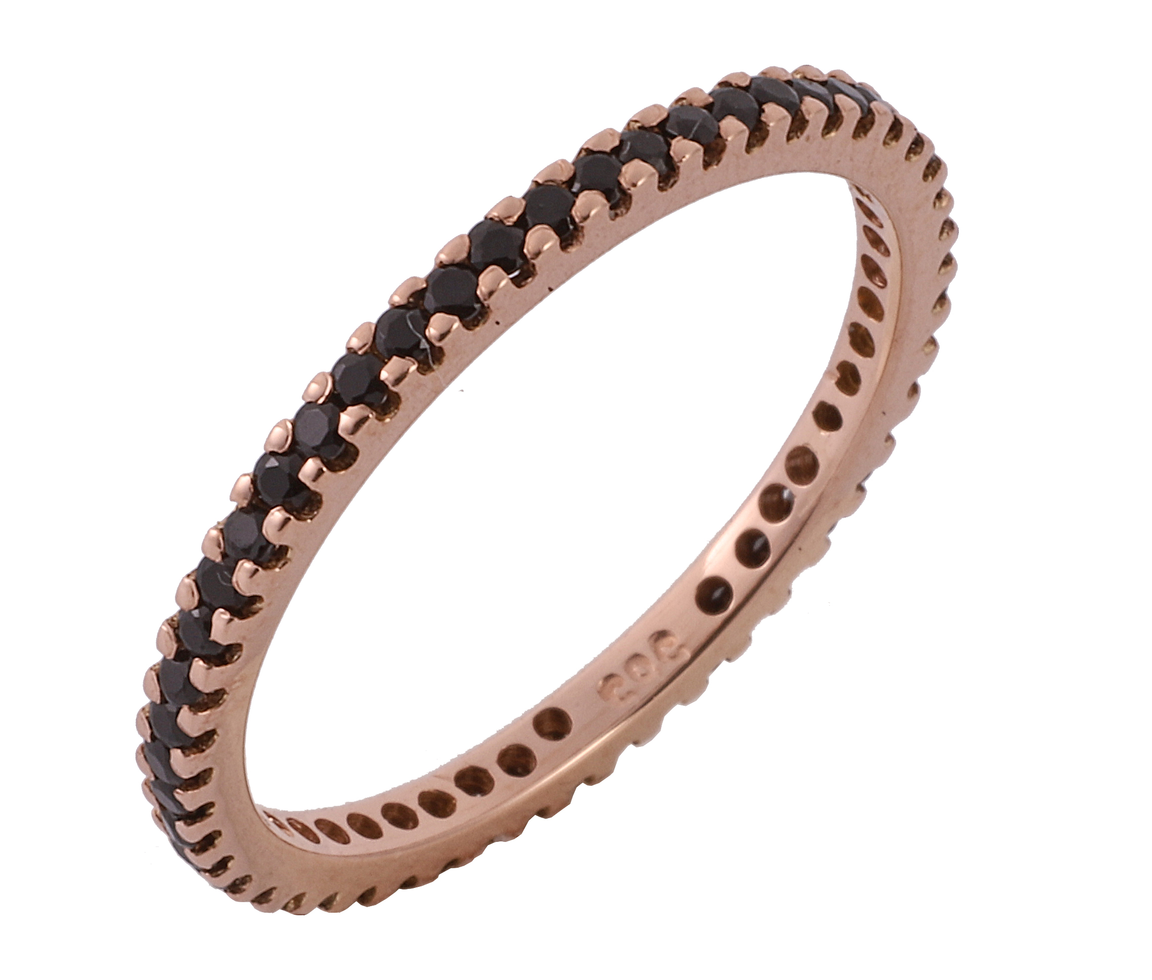 Δαχτυλίδι Ολόβερο με Μαύρα Ζιργκόν Ροζ Χρυσός Κ14 - 11053BL
