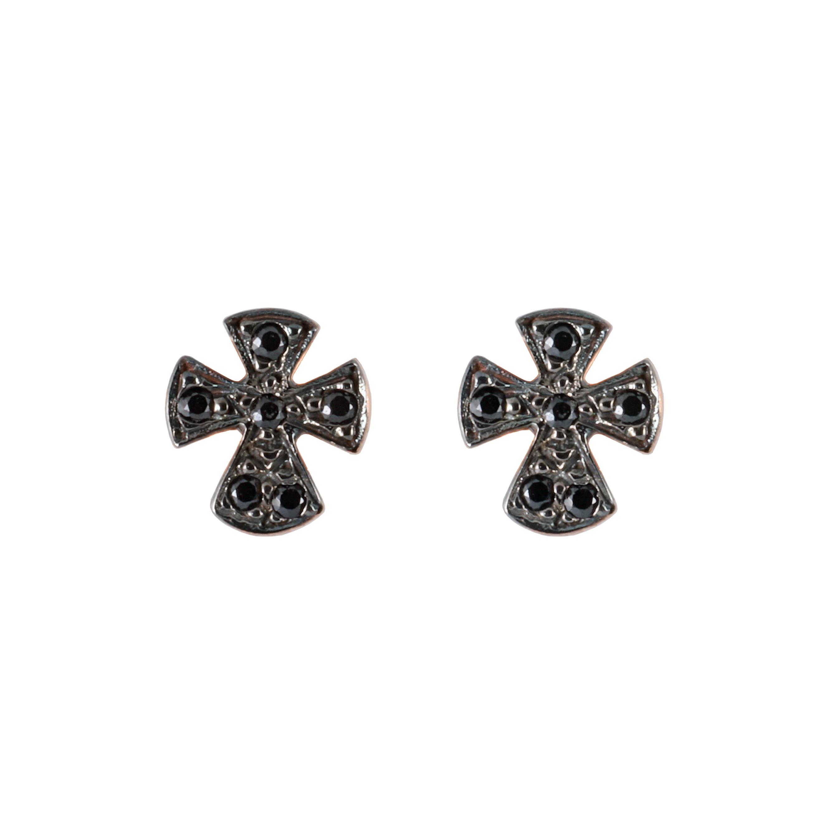 Σκουλαρίκια Σταυρός με Μάυρα Ζιργκόν Ροζ Χρυσός Κ9 - 16065E