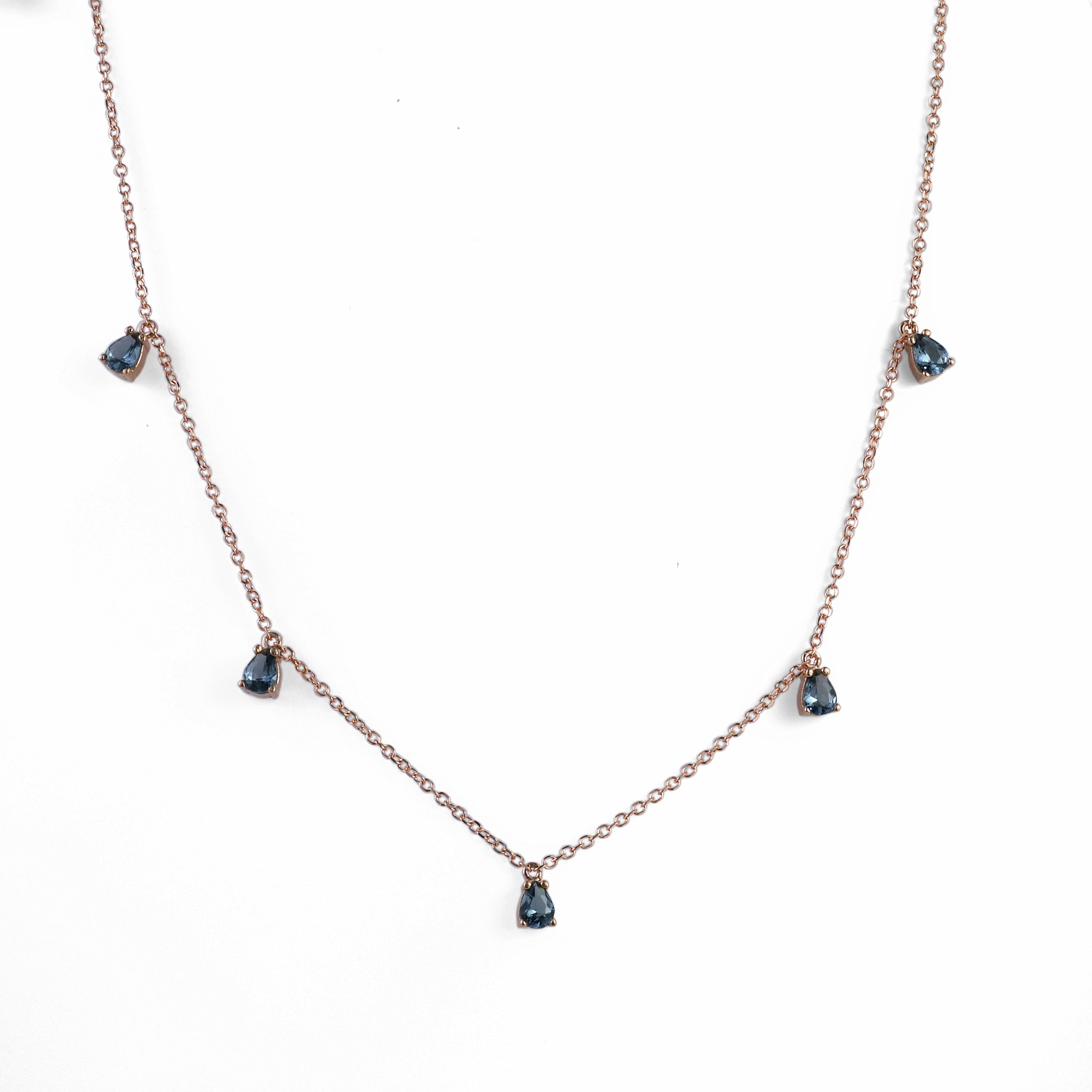 Κολιέ με Μαύρα Ζιργκόν σε Σχήμα Δάκρυ Ροζ Χρυσός Κ9 - 16066