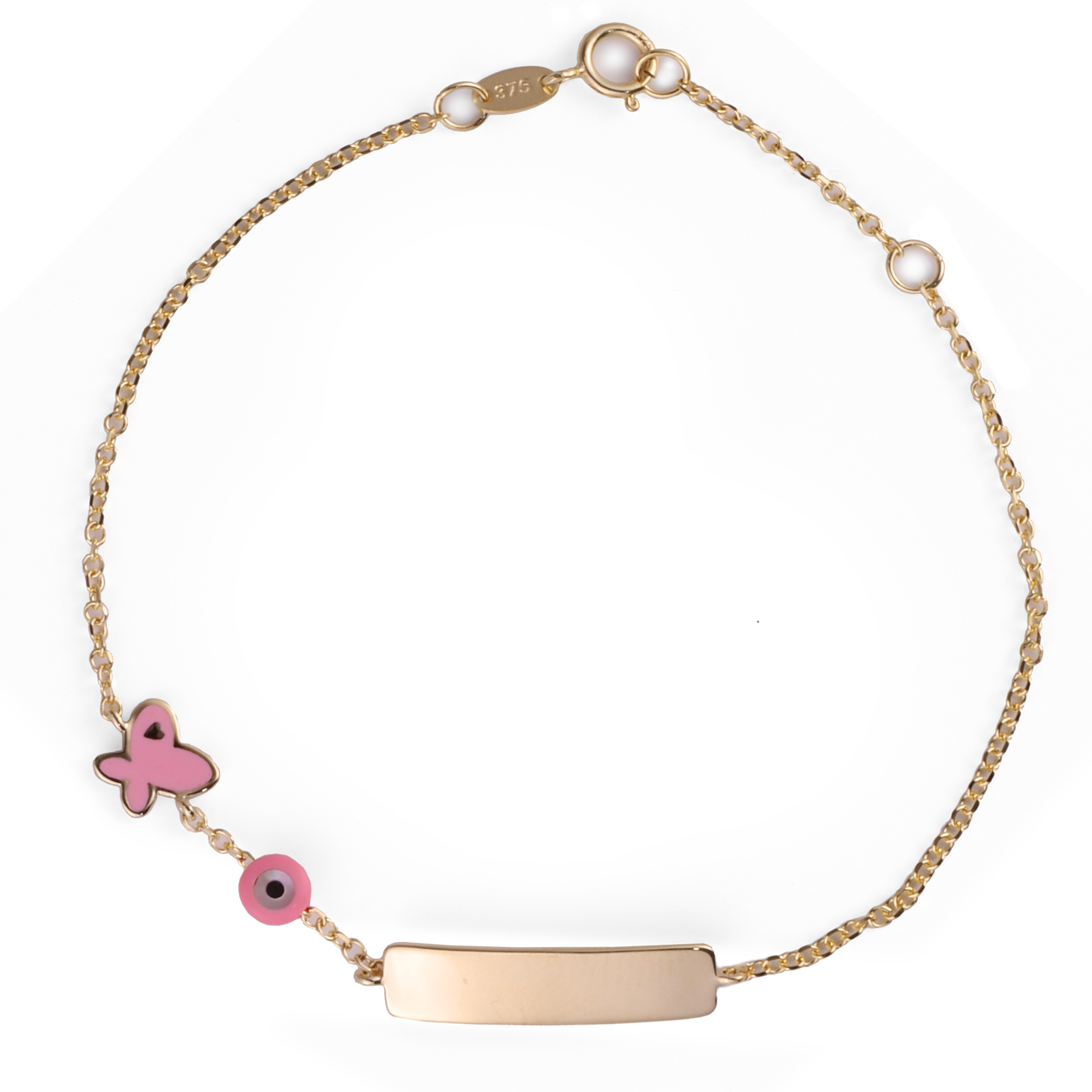 Παιδική Ταυτότητα με Πεταλόυδα Ροζ Σμάλτο Χρυσός Κ9 - 16072