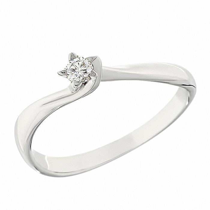 Δαχτυλίδι Μονόπετρο με Διαμάντι Λευκόχρυσος Κ18 - 06054