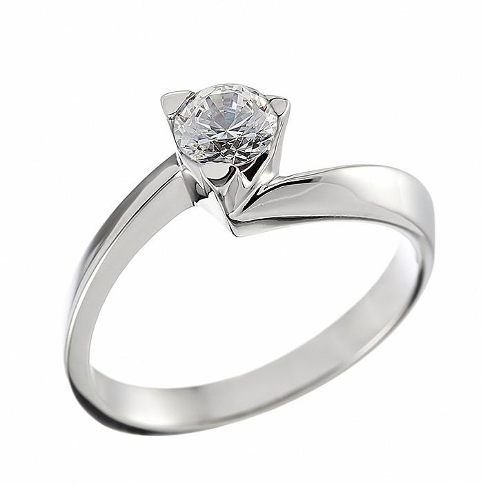 Δαχτυλίδι Μονόπετρο με Διαμάντι Λευκόχρυσος Κ18 - 06257