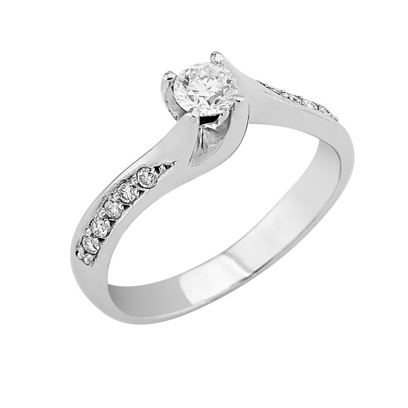 Δαχτυλίδι Μονόπετρο με Διαμάντια Λευκόχρυσος Κ18 - 0626661