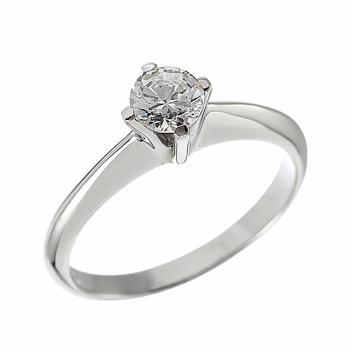 Δαχτυλίδι Μονόπετρο με Διαμάντι Λευκόχρυσος Κ18 - 06267