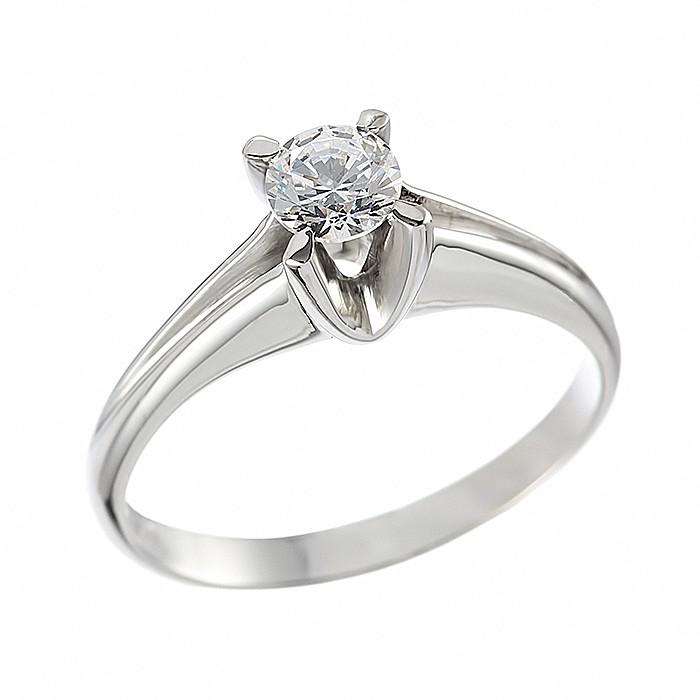 Δαχτυλίδι Μονόπετρο με Διαμάντι Λευκόχρυσος Κ18 - 06394
