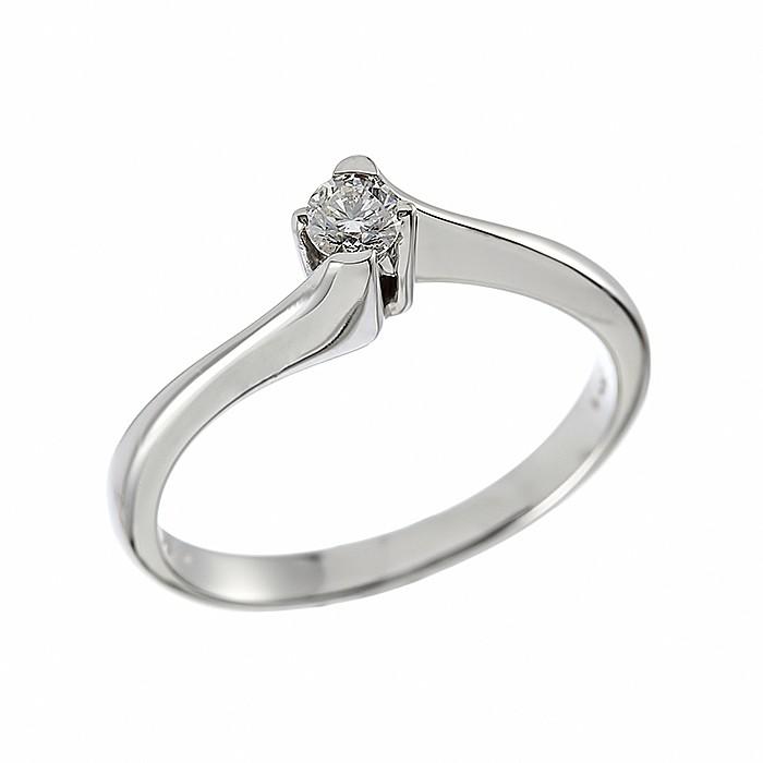 Δαχτυλίδι Μονόπετρο με Διαμάντι Λευκόχρυσος Κ18 - 06397
