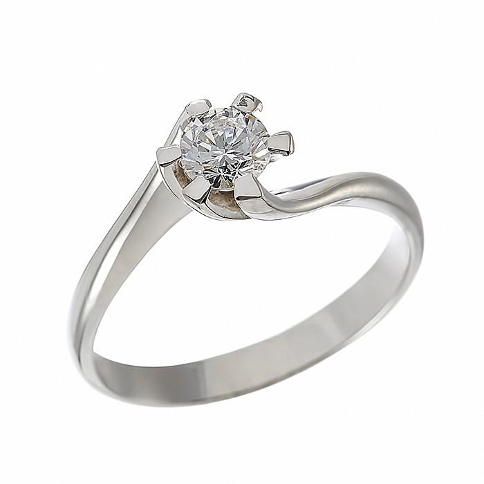 Δαχτυλίδι Μονόπετρο με Διαμάντι Λευκόχρυσος Κ18 - 06400