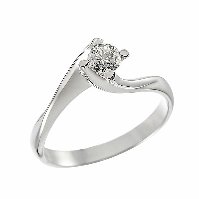 Δαχτυλίδι Μονόπετρο με Διαμάντι Λευκόχρυσος Κ18 - 064024R