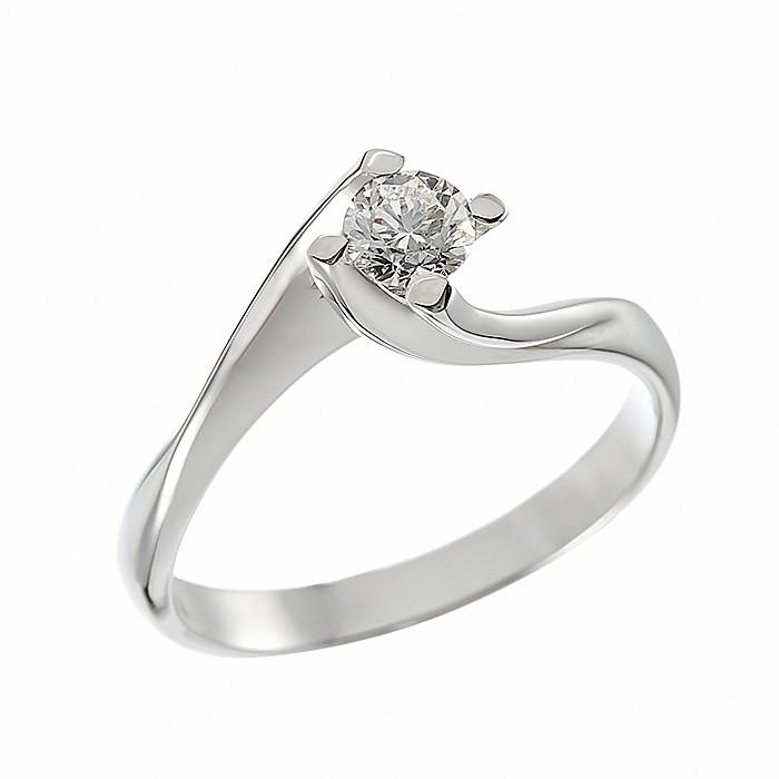 Δαχτυλίδι Μονόπετρο με Διαμάντι Λευκόχρυσος Κ18 - 064025R