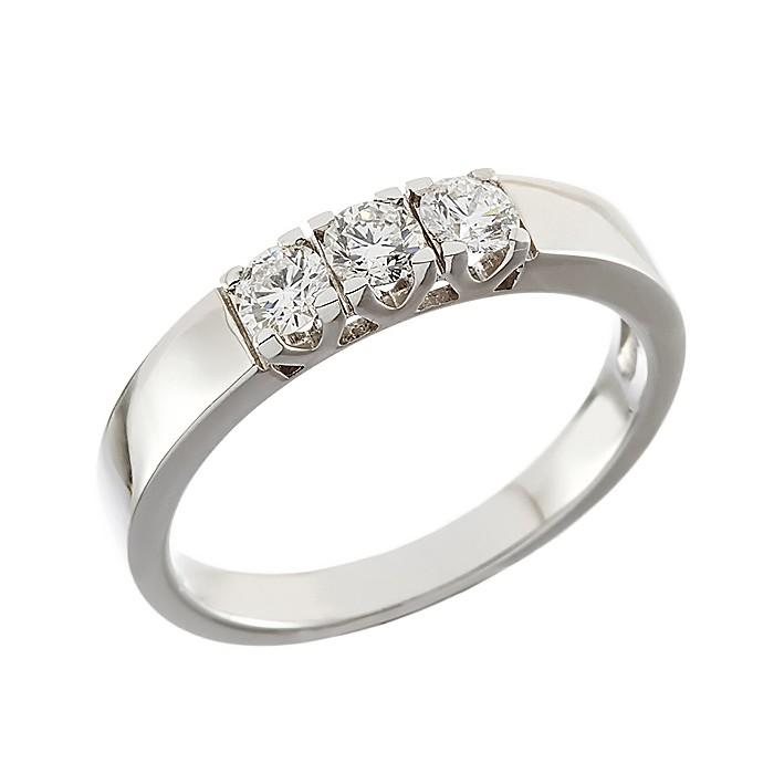Δαχτυλίδι Μισόβερο με Διαμάντια Λευκόχρυσος Κ18 - 070013R