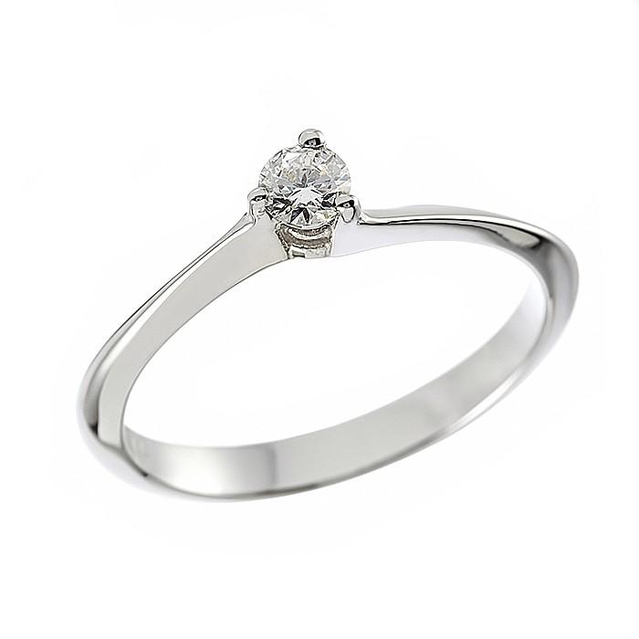 Δαχτυλίδι Μονόπετρο με Διαμάντι Λευκόχρυσος Κ18 - 070031R
