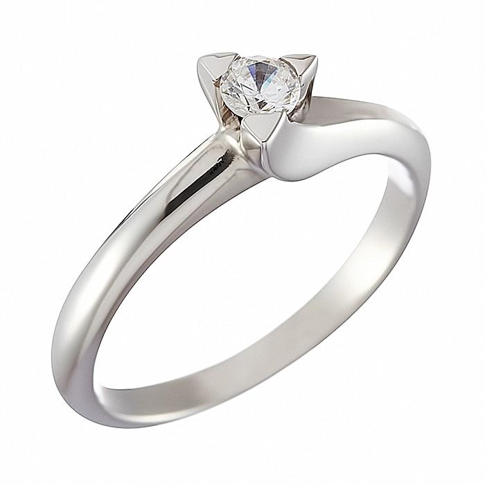 Δαχτυλίδι Μονόπετρο με Διαμάντι Λευκόχρυσος Κ18 - 07005