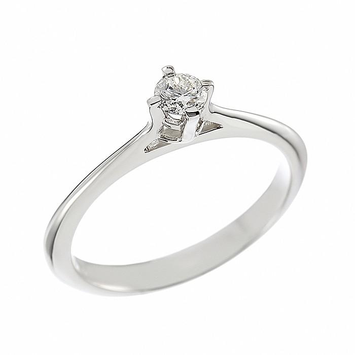 Δαχτυλίδι Μονόπετρο με Διαμάντι Λευκόχρυσος Κ18 - 07007