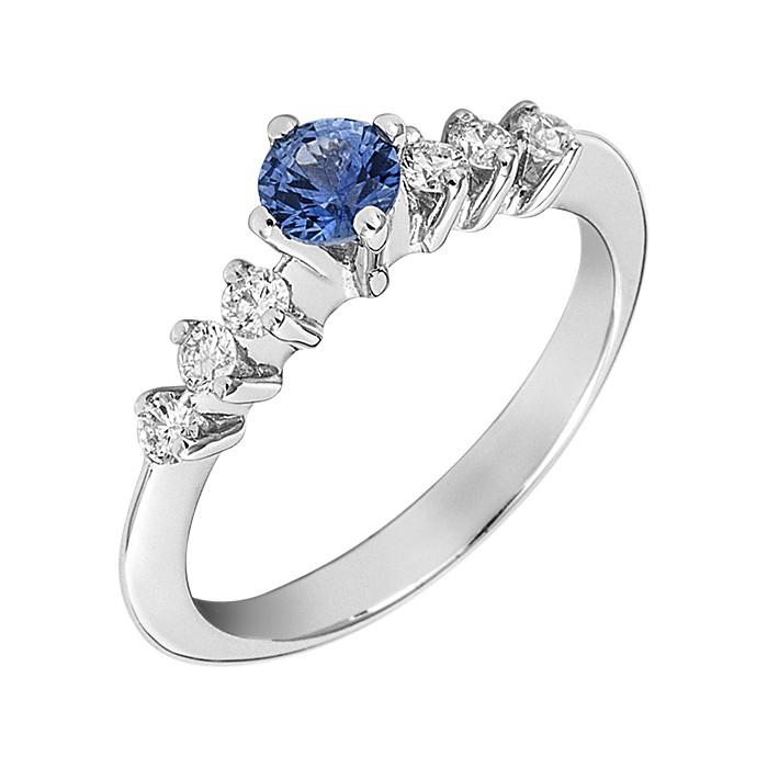 Δαχτυλίδι με Διαμάντια και Ορυκτή Πέτρα Λευκόχρυσος Κ18 - 07018S