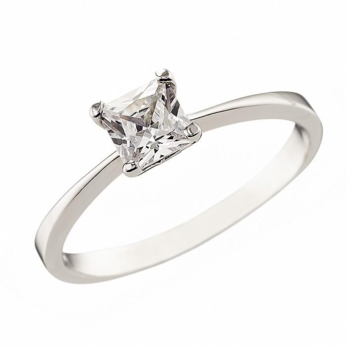 Δαχτυλίδι Μονόπετρο με Ζιργκόν Λευκόχρυσος Κ14 - 07123