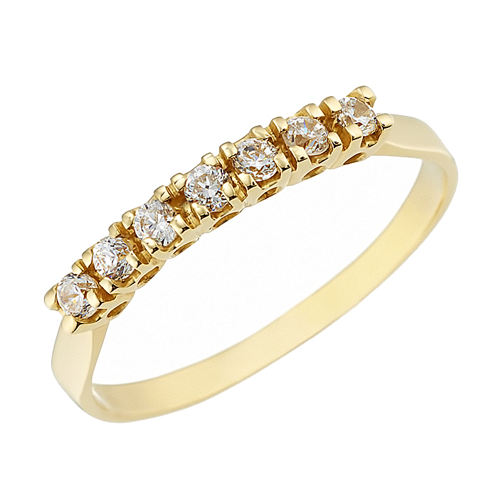 Δαχτυλίδι Μισόβερο με Ζιργκόν Χρυσός Κ14 - 07132Y