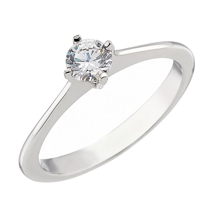 Δαχτυλίδι Μονόπετρο με Ζιργκόν Λευκόχρυσος Κ14 - 07142