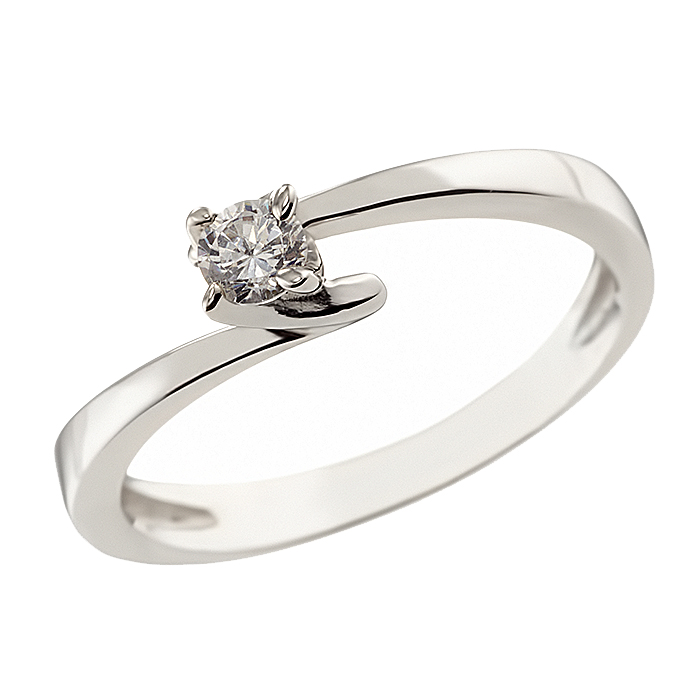 Δαχτυλίδι Μονόπετρο με Ζιργκόν Λευκόχρυσος Κ14 - 07149