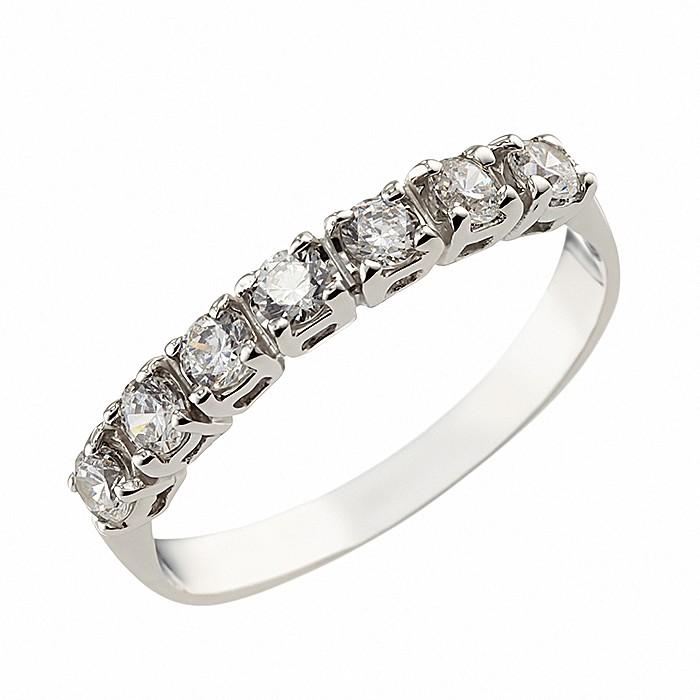Δαχτυλίδι Μισόβερο με Ζιργκόν Λευκόχρυσος Κ14 - 07175