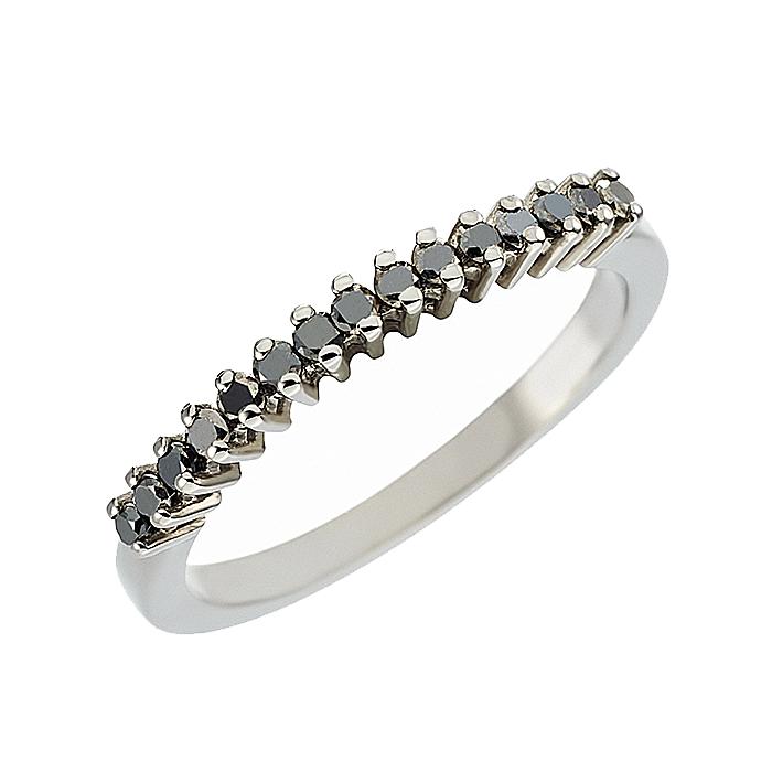 Δαχτυλίδι Μισόβερο με Μαύρα Διαμάντια Λευκόχρυσος Κ18 - 07259BL