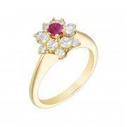 Δαχτυλίδι με Διαμάντια και Ρουμπίνι Χρυσός Κ18 - 0274Υ