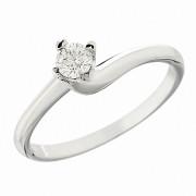 Δαχτυλίδι Μονόπετρο με Διαμάντι Λευκόχρυσος Κ18 - 06339